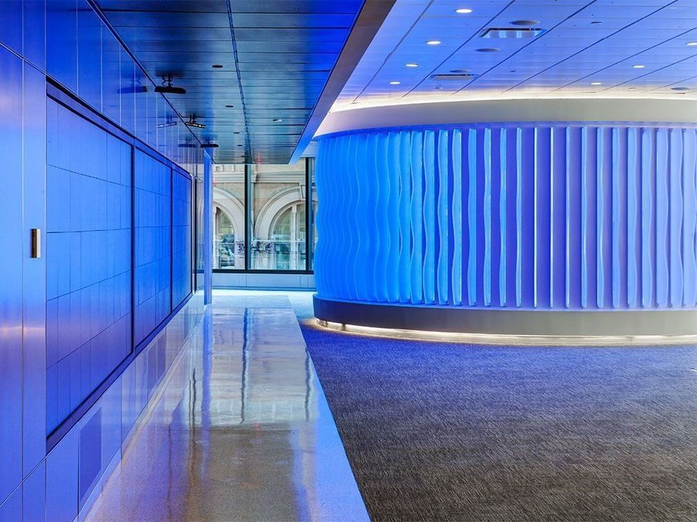 interior office design with blue glow