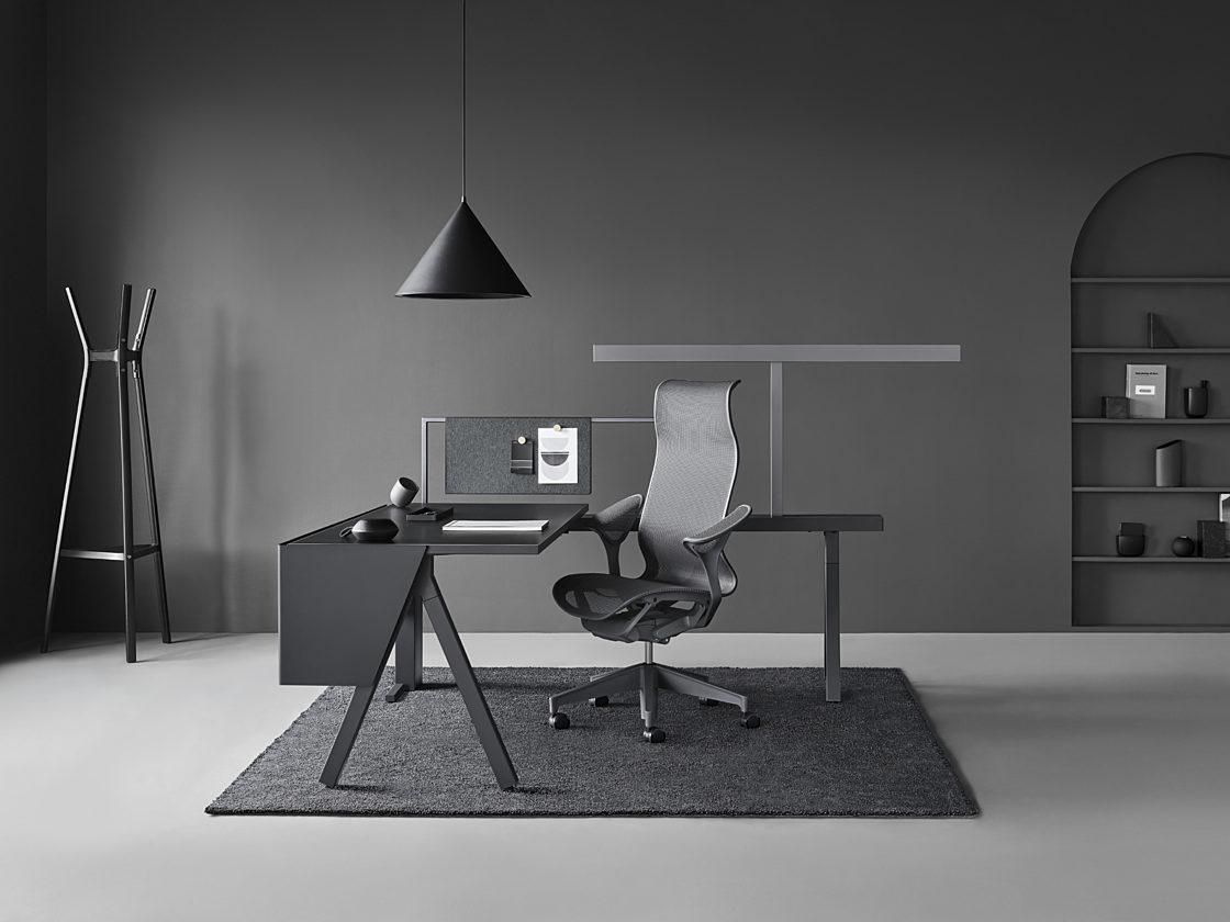 desk setup in black and white