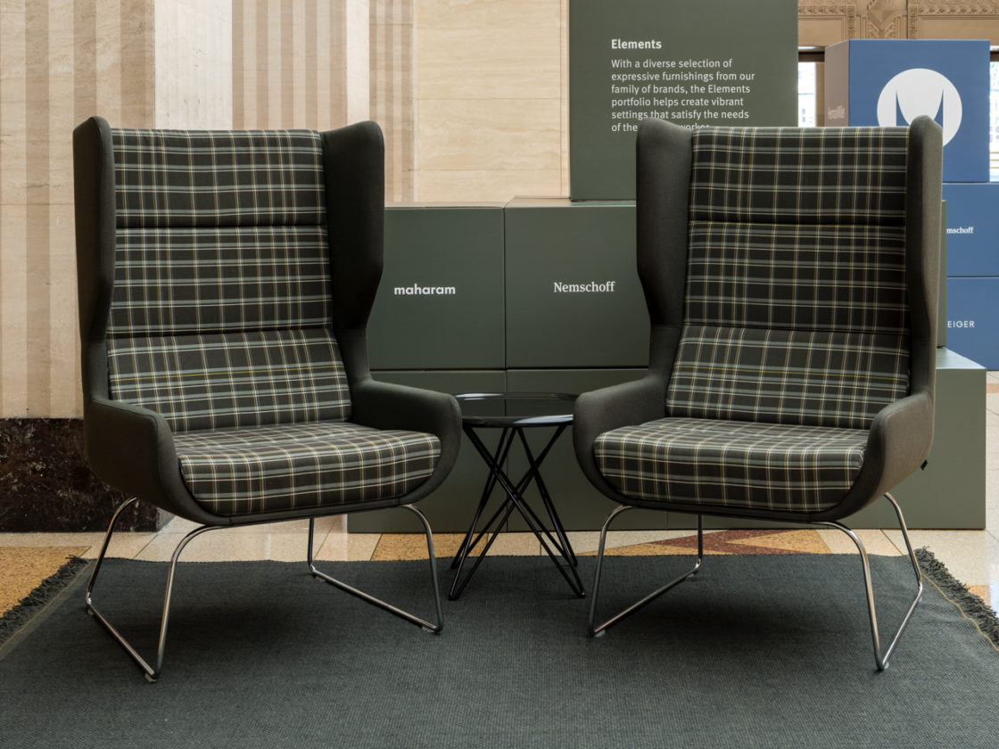 black high-back chairs in office