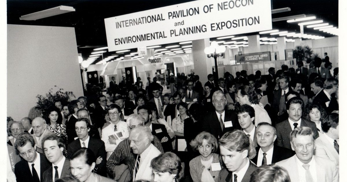 Crowd gathers at entrance of NeoCon
