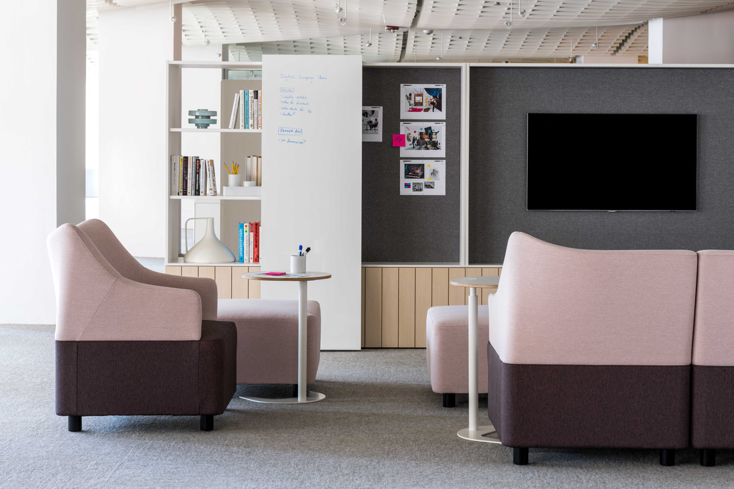 Office Environments office lounge seating with pink accents