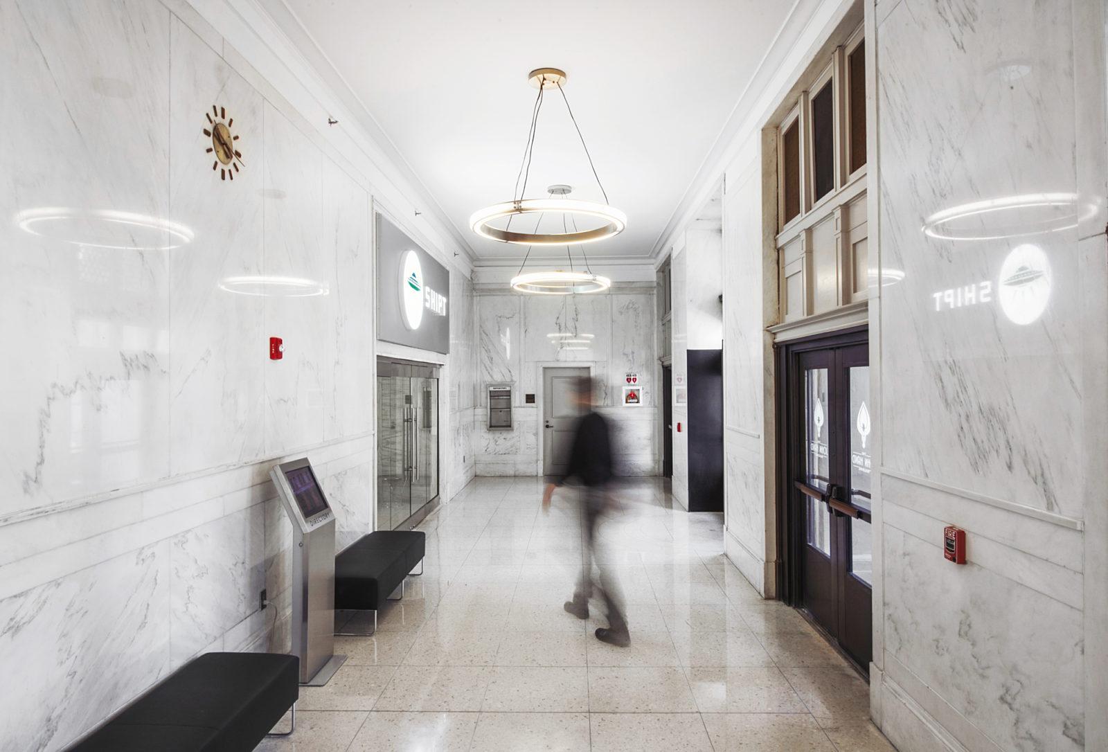 hallway in open office concept in Shipt headquarters Birmingham, AL