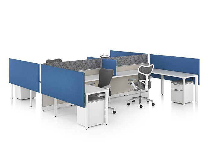 Herman Miller Canvas 4-pack benching system with privacy screen and mobile storage